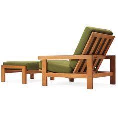 Hans J. Wegner; Oak Lounge Chair and Ottoman for Getama, 1960s.