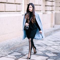 oversized coat w/ lace up knee high boots by Merna Mariella