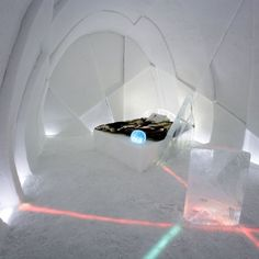 An image from the Icehotel in Jukkasjärvi, Sweden. One of the Art Suites created by artists from around the world. The temporary hotel is created from snow and ice each winter.