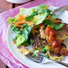 Pumpkin, Pea and Haloumi Fritters - Nadia Lim