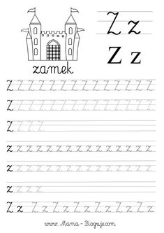SZABLONY DO NAUKI PISANIA LITER - LITERKI M - Z - Mama Bloguje Worksheets For Kids, Learn French, Alphabet, Preschool, Classroom, Letters, Teaching, Rally, Lettering Tutorial