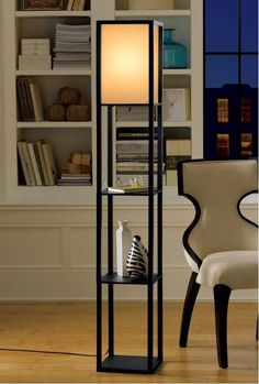 Accents Stehleuchte 3 Shelf Standing Lamp 63 Tall Wood with Whit - Light . - Lamps - Light Accents Stehleuchte 3 Shelf Standing Lamp 63 Tall Wood with Whit - Light . - Lamps - Have it all with high style and multi-function. The Wri. Wooden Floor Lamps, Floor Lamp With Shelves, Wooden Lamp, Wooden Flooring, Shelf Lamp, Diy Floor Lamp, Industrial Floor Lamps, Wood Shelf, Bookshelves In Living Room