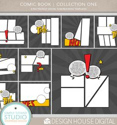 Comic Book Digital Scrapbook Templates by Simply Tiffany Studios