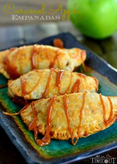 Caramel Apple Empanadas are the perfect way to get in a quick caramel apple fix without all the fuss! | MomOnTimeout.com #caramel #apple