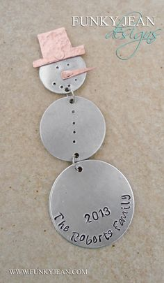 Mixed Metal Custom Stamped Snowman Dangle Ornament with Copper hat and nose