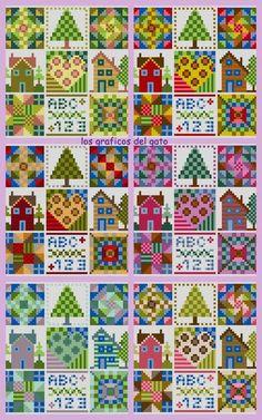 Bonito gráfico para biscornú estilo patchwork...