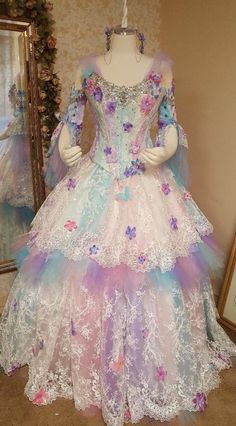 Magical Fairy Unicorn Convertible Gown- Full and short skirt, corset, detachable sleeves. Quinceanera Dresses, Prom Dresses, Bridal Dresses, Sparkle Gown, Hoop Skirt, Fantasy Gowns, Pixie Styles, Beautiful Gowns, Short Skirts