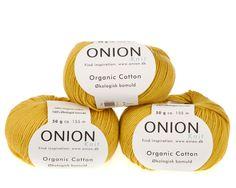Karry økologisk bomuldsgarn fra Onion - 35 kr. per 50 gram