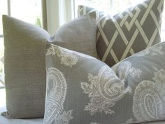 Items similar to Decorative Pillow--Designer Fabric---Paisley .- LUMBAR--Throw Pillow - Taupey Grey ,Ivory, Chocolate on Etsy Cream Grey Living Room, Lumbar Throw Pillow, Throw Pillows, Family Room Decorating, Decorating Ideas, Living Room Redo, Grey Pillows, Transitional Living Rooms, Home Decor Accessories