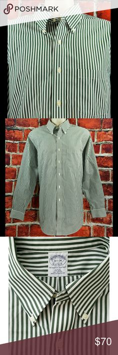 Mint Brooks Brothers Sz Large 16.5-35 ?Measurements Below? Mens Brooks Brothers SLIM Fit Non Iron Green Striped Dress Shirt Size: L 16.5-35  About this item:  Excellent Condition See all 3 Pictures SLIM Fit Non Iron Green & White Striped 100% Cotton  Size: 16.5-35 Across Chest: 24 Length: 32 Sleeve: 25.5 Brooks Brothers Shirts Dress Shirts