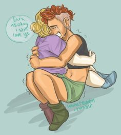 Lars and Sadie. In which Lars is ftm. Steven Universe. Fan art. Transgender. Tumblr. /not mine/
