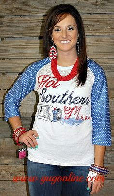 Hot Southern Mess Baseball Burnout Tee with Polka Dot Sleeves  www.gugonline.com