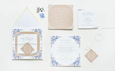 Blue Floral and Kraft Paper Greek Destination Wedding Invitation via Oh So Beautiful Paper: http://ohsobeautifulpaper.com/2014/04/april-angelos-floral-kraft-wedding-invitations/ | Design: Suite Paperie | Photo: Lindsay Nathanson #floral #wedding