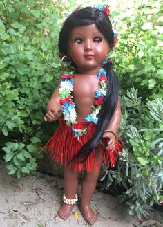 Vtg 50's German Schildkrot Turtle Mark 46 Brown Skin Manuela Flirty Doll Hawaii | eBay