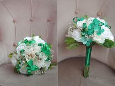 paper flowers bouquet in green, turquoise and white colors