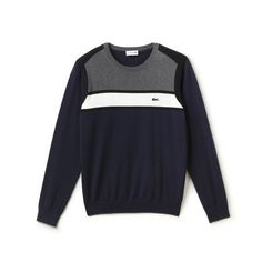 Step out in an exclusive premium Made in France Edition sweater and feel sensational. Iconic color blocks and ribbed finishes set the tone for a versatile, refined sport-inspired seasonal look. France Colors, Color Block Sweater, Cotton Sweater, Lacoste, Knits, Knitwear, Stripes, Pullover, Sport