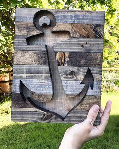 Rustic Nautical Anchor Silhouette Wood Wall Art by Bayocean Rustic Design