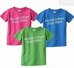 """3/14/17 - Our shirt of the day is our infant """"Mandatory Fun Time"""" tee! Perfect for shenanigans and work events! (And also on sale because it is offered in green!) www.battle-threads.com"""
