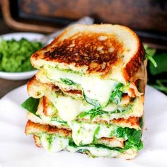Spinach Pesto Grilled Cheese is stuffed with delicious smoked gouda cheese, spinach, and a homemade spinach pesto – it's to die for!
