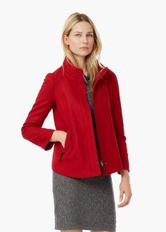 Side-zip wool coat -  Women   MANGO