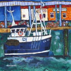Eyemouth by Bernie Wisniewski  This unspoilt corner of south-east Scotland, stretching from Cockburnspath in the north down to Lamberton on the Border with England, has all the best the Scottish Borders can offer - and lots more.   Format:  Paper Giclee print on Breathing Colour Elegance Velvet Paper 310gsm    Print size : 40 x 40 cm Artist Biography, Illustration Art, Illustrations, Source Of Inspiration, Local Artists, Limited Edition Prints, Stretching, Giclee Print, Scotland