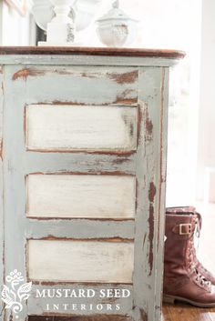 Painted side panels. Distressed dresser makeover - Miss Mustard Seed