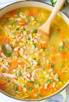 Healthy Chicken White Bean Soup Recipe - A light and lean chicken soup with robust flavor and texture. Made with beans, tons of vegetables, and savory spice