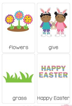 A super cute set of Easter Vocab Cards. #busylittlebugs #easter #tptpins