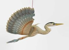 Great Blue Heron Bird Mobile Fan Carving, Hand Carved Woodwork, Hanging Ornament Artwork, Lake House Décor, Ceiling Bird, Folk Hobby Craft by MyFanbirds on Etsy