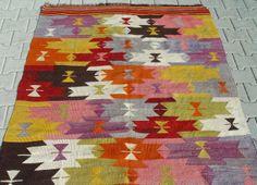 "Nomadic Turkish Kilim Rug Carpet circa 1950 - 107"" x 55"" (272 x 140 CM)"