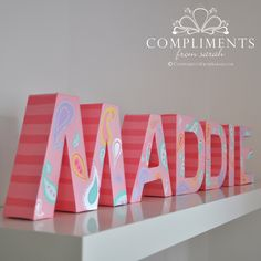 Maddie's Paisley & Stripe Letters  http://complimentsfromsarah.com/2013/02/26/maddies-paisley-stripe-letters/#