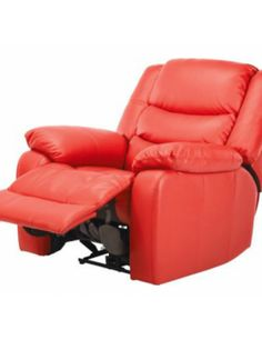 small leather recliner red