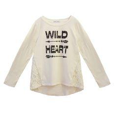 Girls' Franki & Jack Crochet Side Long Sleeve Tee - Ivory : Target