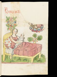 Rachel sits with the cloth-wrapped child Joseph in her arms. The chest and hands of God the father can be seen in a cloudy area on the top right. About one-sixth of the leaf is destroyed. Medieval Bed, Medieval Life, 15th Century Dress, 14th Century, Medieval Manuscript, Illuminated Manuscript, Women's Chemises, Infancy, Women In History