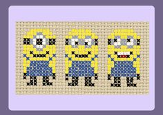 Yellow Minions Cross Stitch Pattern by StitchedWithLoveByUs (again for perler beads too) Cross Stitch For Kids, Cross Stitch Charts, Cross Stitch Designs, Cross Stitch Patterns, Minions, Cross Stitching, Cross Stitch Embroidery, Minion Pattern, 8bit Art