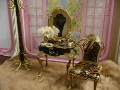 OOAK Barbie Vanity Bedroom House Furniture Lot Diorama 1 6 Scale Flowers  Rug | EBay