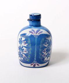 Royal Copenhagen bottle tenera johnson marianne fajance 53/2910 danish pottery flowers blue green white retro modern mid century