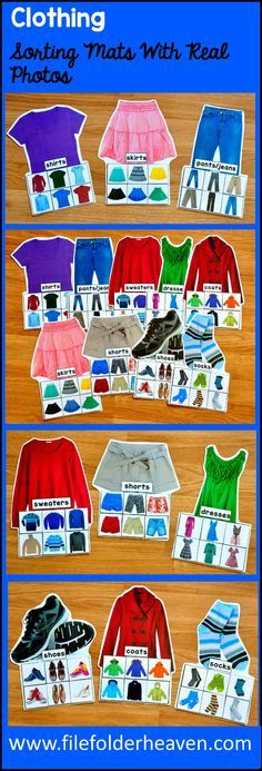 These Clothing Sorting Mats w/ Real Photos include 9 unique sorting mats that focus on identifying t Sorting Activities, Educational Activities, Preschool Activities, Creative Curriculum Preschool, Preschool Learning, Teaching, Short Sweater Dress, Sweater And Shorts, Vocational Tasks