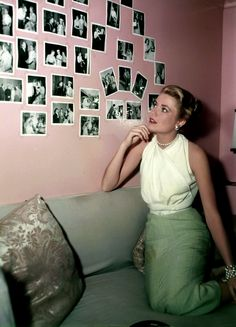 Pale green skirt, a billowy blouse and pearls, 1954.   - TownandCountryMag.com