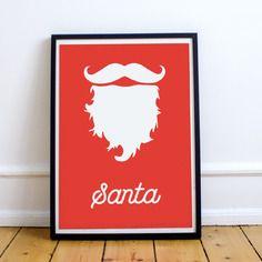Affiche minimaliste barbe père noël hipster, poster barbe hipster blanche du père noël sur fond rouge