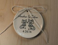 Ceramic Ring Holder  Fox Couple  you choose by aphroditescanvas