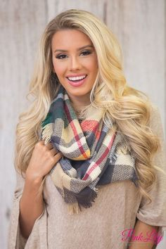 Set You Free Plaid Infinity Scarf Taupe And Green Plaid Infinity Scarf, Plaid Scarf, Stitch Fix Fall, Cute Scarfs, Fall Accessories, Pink Lily, Scarf Styles, A Boutique, Going Out
