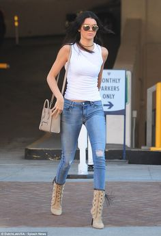 Kendall Jenner wearing Celine Nano Bag, Linda Farrow 307 Sunglasses in Rose Gold, Tamara Mellon Bohemia Elaphe-Trimmed Embellished Suede Boots and RTA Denim Icon Skinny Jeans in Cosmic Blue Casual Street Style, Street Chic, Denim Fashion, Star Fashion, Fashion 2015, Street Fashion, Fashion Beauty, Girl Fashion, Ripped Denim