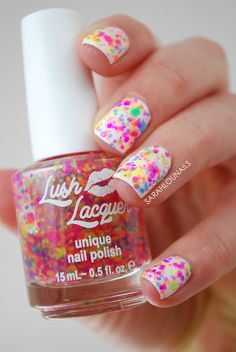Gorgeous colorful Lush Lacquer polish, almost looks like a splatter manicure
