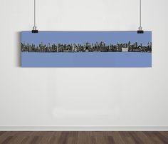 Poster Panorâmico World Skyline Light Blue / Artista Sergio Piancó