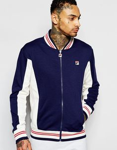 Image 1 of Fila Vintage Track Jacket With Baseball Collar