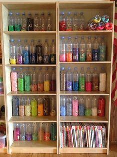 Perler Bead storage in old water bottles.  An interesting idea.