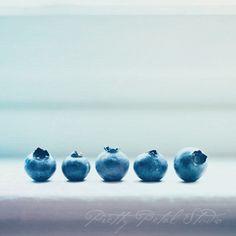 Fine Art Photograph, Blueberries on a Windowsill, Kitchen Art, Cool Blue Tones, Minimalism, Macro Photo, Summer Fruit, Square 8x8 Print. $30.00, via Etsy.