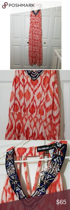 Desigual maxi dress. You'll adore this magnificent long dress from Desigual ! Give in to its red colour and polyester (100%) material. Ideal for long summer days! Desigual Dresses Maxi