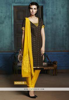 Brown And Dark Blue Color Designer Churidar Salwar Suit In 2 Piece Combo Pack
